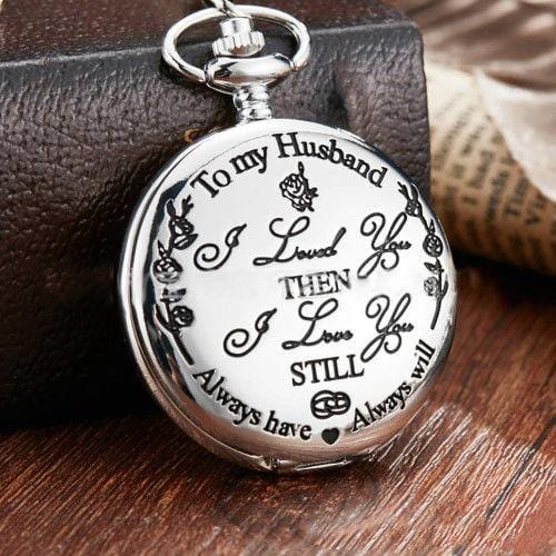 Vintage Quartz Pocket Watch Silver To My Husband