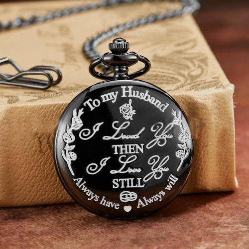 Vintage Quartz Pocket Watch Black To My Husband