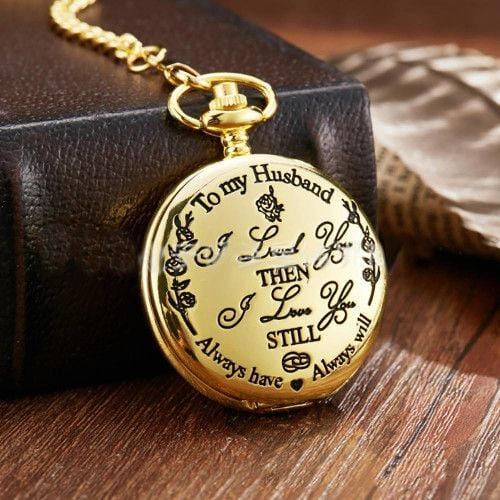 Vintage Quartz Pocket Watch Golden To My Husband