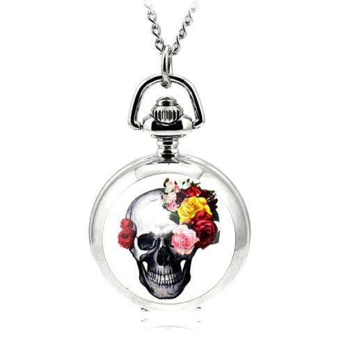 Pocket Watch Pendant Watch Skeleton Flower