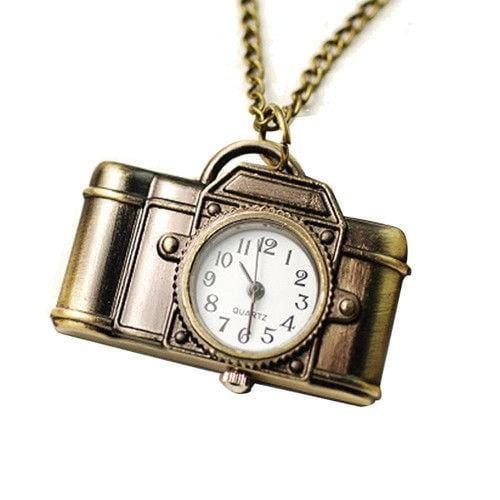 Pendant Watch Vintage Quartz Camera Bronze