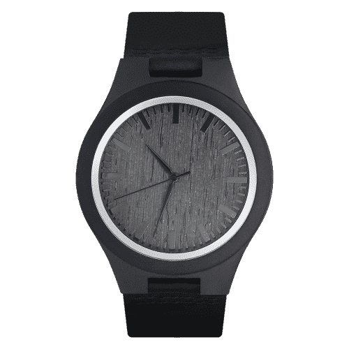 Men's Wooden Watch Black Leather Strap 45mm