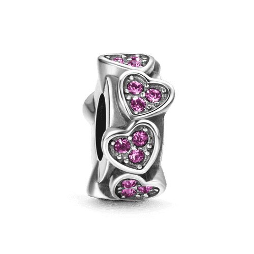 Pandora Compatible 925 sterling silver Peach Heart Stopper Silver From CharmSA Image 1