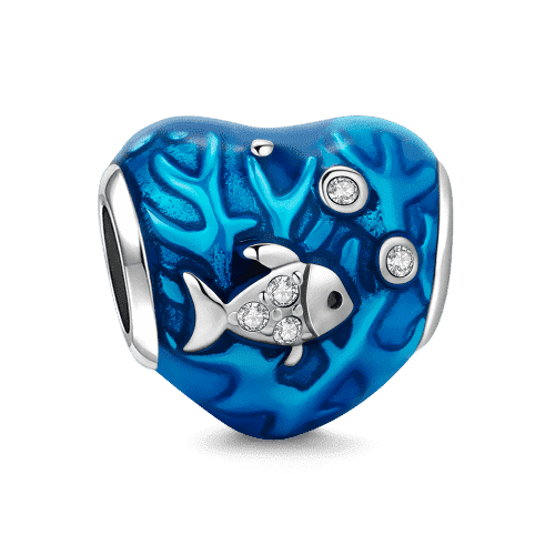 Pandora Compatible 925 sterling silver Fish and Coral Stopper Silver Swarovski Crystal From CharmSA Image 1