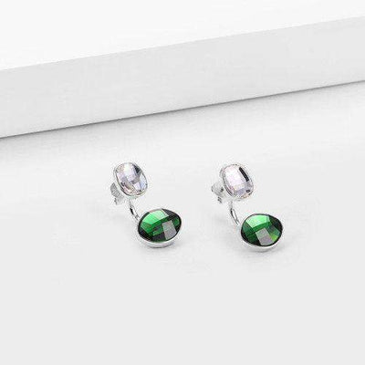 Green Glow Earrings Silver