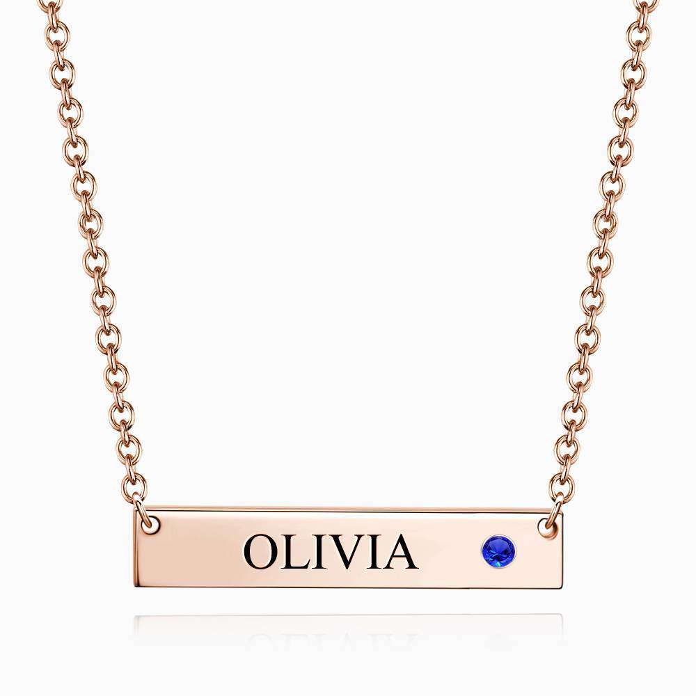 Personalized Birthstone Bar Necklace with Engraving Rose Gold Plated Silver