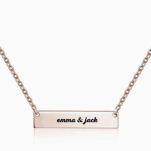 Engraved Bar Necklace Rose Gold Plated Silver