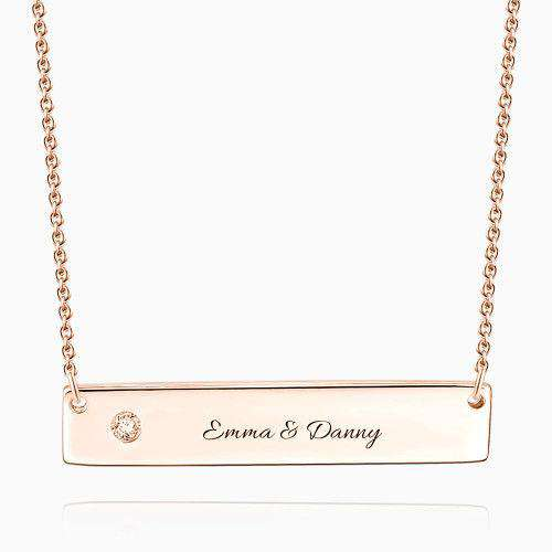 0.02ct Diamond Engraved Bar Necklace Rose Gold Plated Silver