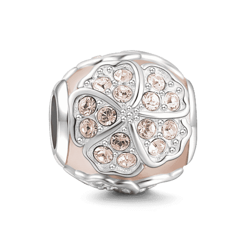 Pandora Compatible 925 sterling silver Lucky Flower Charm Rose Gold Plated Silver From CharmSA Image 1