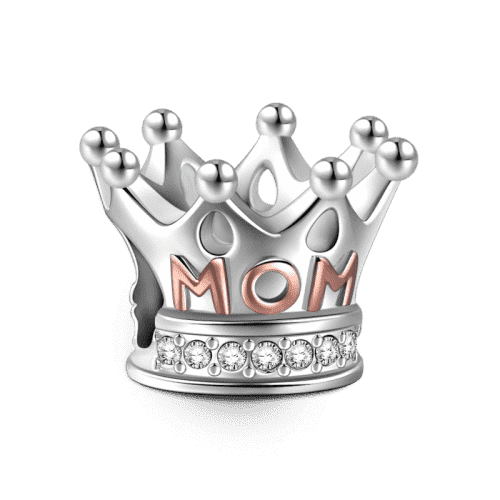 Mom Queen Charm Rose Gold Plated Silver