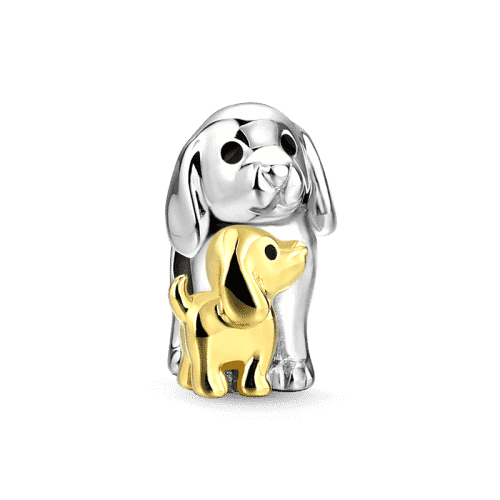 Pandora Compatible 925 sterling silver Motherly Dog Charm 14k Gold Plated Silver From CharmSA Image 1