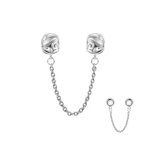 Pandora Compatible 925 sterling silver Lines Knot Safety Chain Silver From CharmSA Image 1