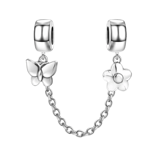 Pandora Compatible 925 sterling silver Butterfly and Flower Safety Chain From CharmSA Image 1