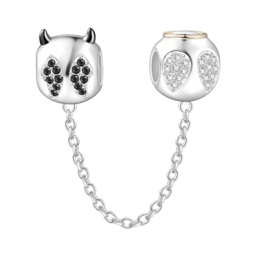 Pandora Compatible 925 sterling silver Angels and Demons Safety Chain 14k Gold Plated From CharmSA Image 1