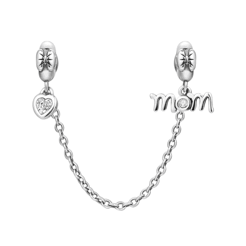 Pandora Compatible 925 sterling silver Love Mom Safety Chain From CharmSA Image 1
