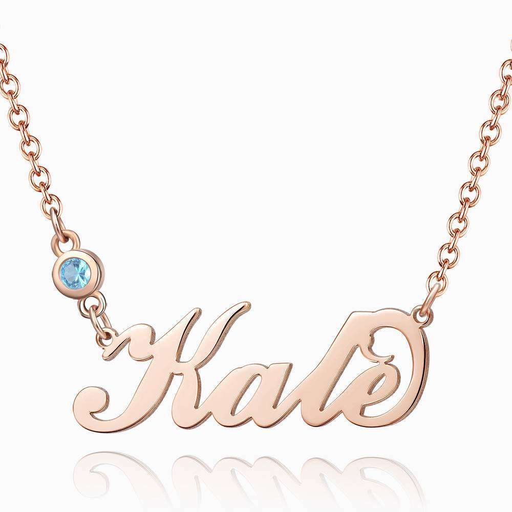 Personalized Birthstone Name Necklace Rose Gold Plated Silver