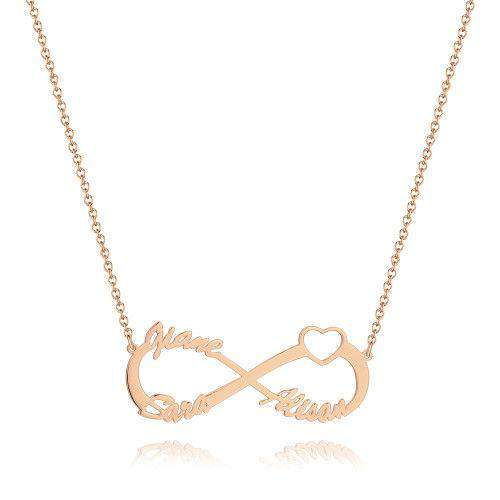 Infinity Three Name Necklace Rose Gold Plated - Silver