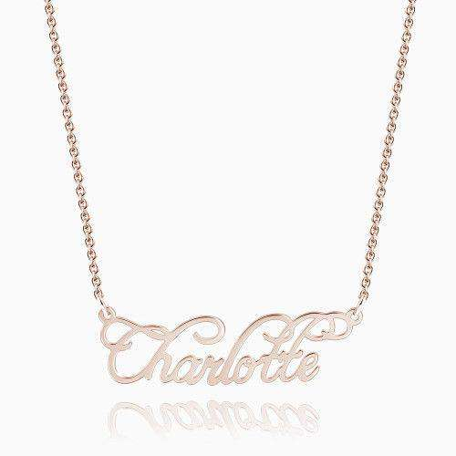 Personalized Cursive Name Necklace Rose Gold Plated Silver