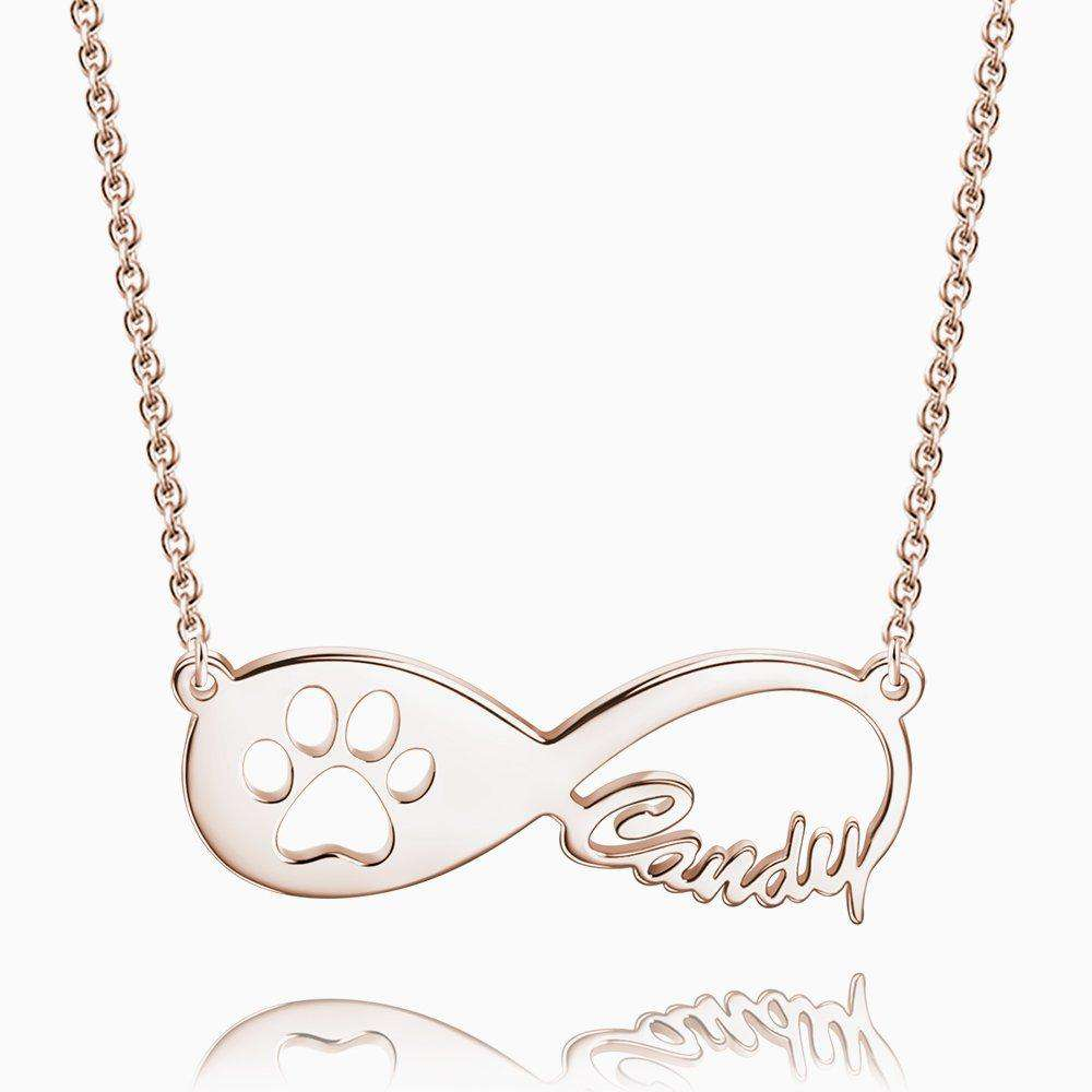 Dog Paw Print Infinity Name Necklace Rose Gold Plated Silver