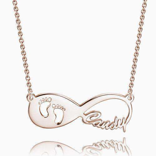 Gift for New Mom - Baby Footprint Infinity Name Necklace Rose Gold Plated Silver