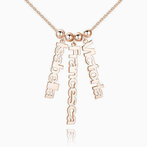 Personalized Vertical 3 Name Necklace Rose Gold Plated Silver From CharmSA Image 1