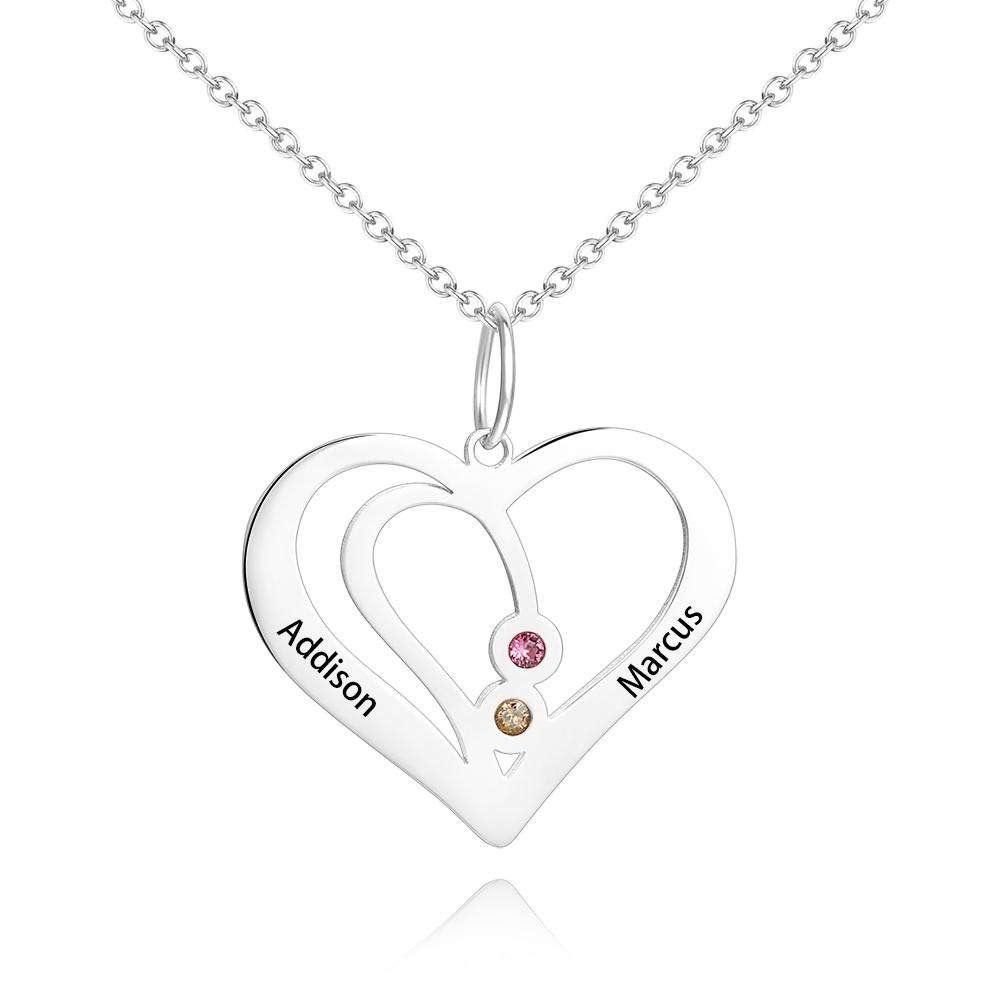 Heart Engraved Two Name Necklace Silver with Custom Birthstone