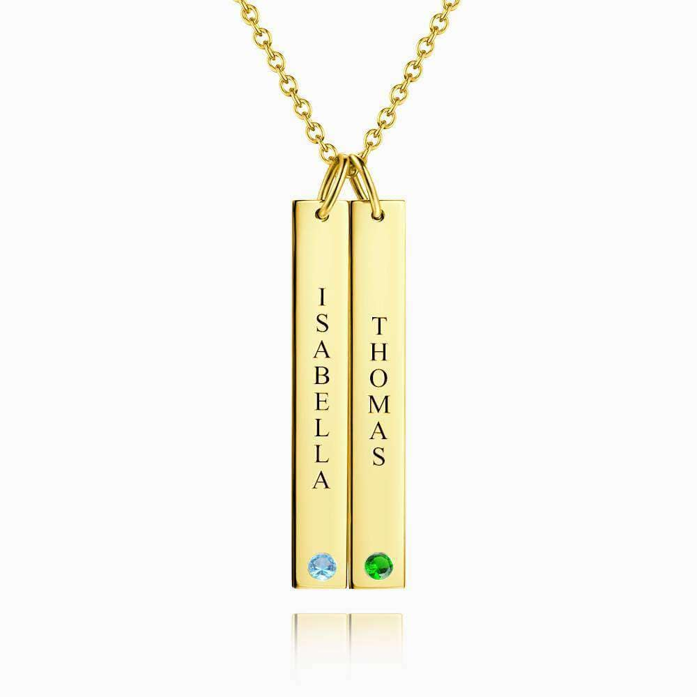 Personalized Birthstone Vertical Two Bar Necklace with Engraving 14k Gold Plated Silver