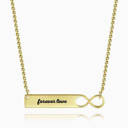 Infinity Bar Necklace with Engraving 14k Gold Plated Silver