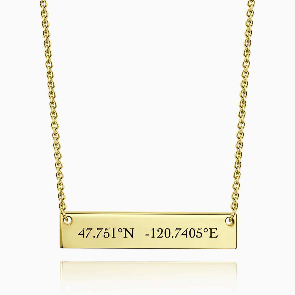 Engraved Coordinate Necklace 14k Gold Plated Silver