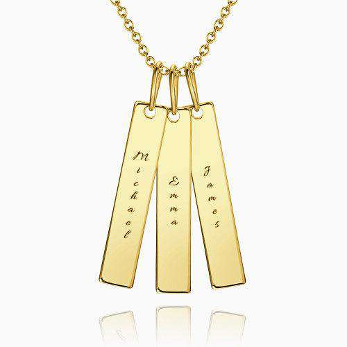 Bar Engraved Bar Necklace 14k Gold Plated Silver