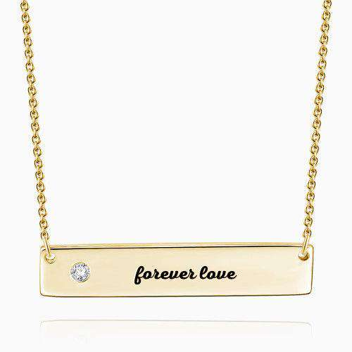 0.02ct Diamond Engraved Bar Necklace 14k Gold Plated Silver