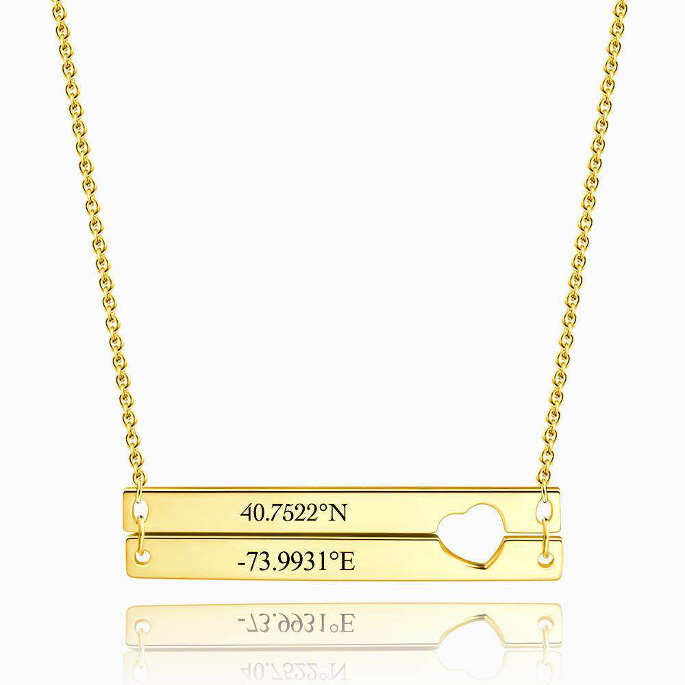 Engraved Double Bar Coordinate Necklace 14k Gold Plated Silver