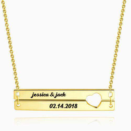 Engraved Double Bar Necklace 14k Gold Plated Silver