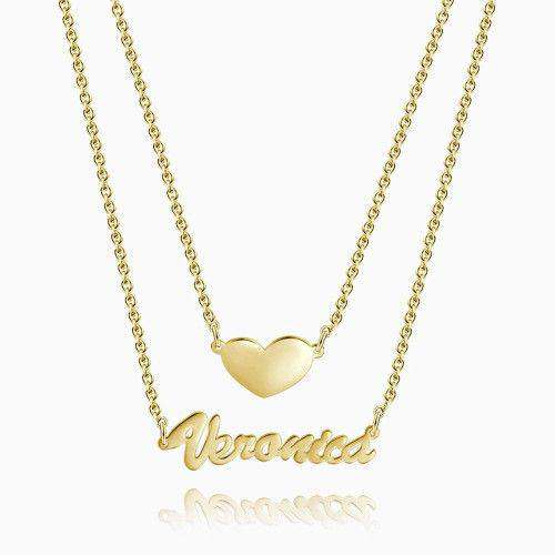 Two Layers Personalized Heart Name Necklace 14k Gold Plated Silver