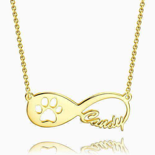 Dog Paw Print Infinity Name Necklace 14k Gold Plated Silver From CharmSA Image 1