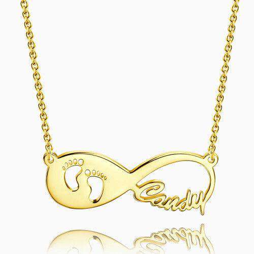 Gift for New Mom - Baby Footprint Infinity Name Necklace 14k Gold Plated Silver From CharmSA Image 1