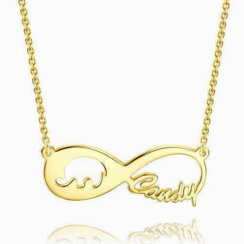 Lucky Elephant Infinity Name Necklace 14k Gold Plated Silver From CharmSA Image 1