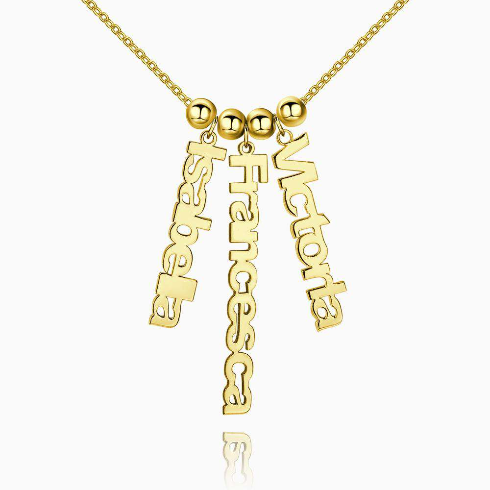 Personalized Vertical 3 Name Necklace 14k Gold Plated Silver