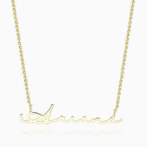 Signature Style Name Necklace 14K Gold Plated Silver