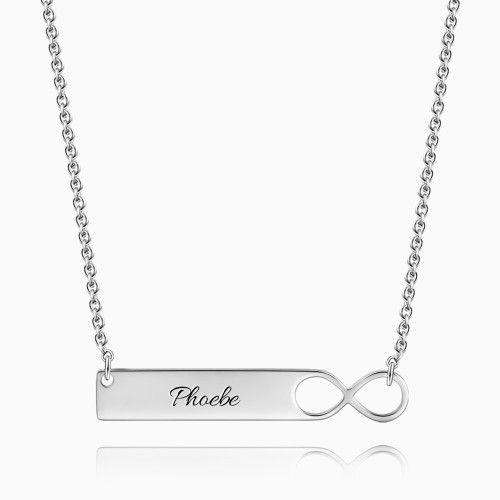 Silver Infinity Bar Necklace with Engraving From CharmSA Image 1