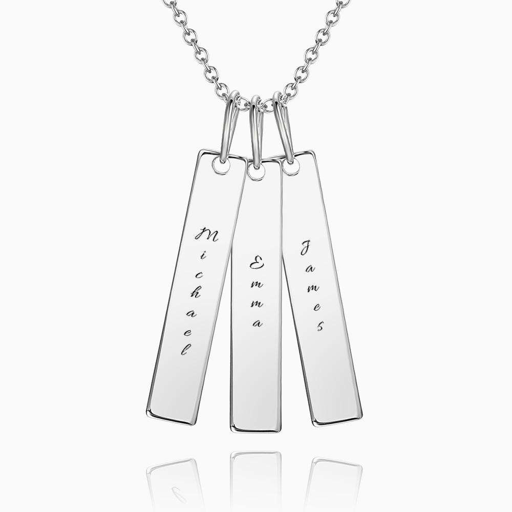 Bar Engraved Bar Necklace Silver