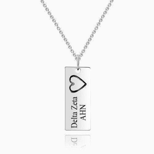 Vertical Bar Necklace for Couples with Engraving Silver