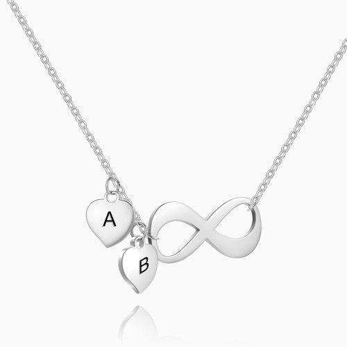 Infinity Initial Necklace with Engraving Silver From CharmSA Image 1