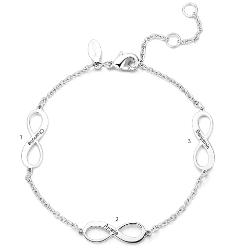 Engraved Infinity Love Bracelet Silver - Length Adjustable From CharmSA Image 1