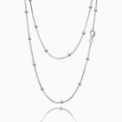 Double Basic Necklace with Dots Silver