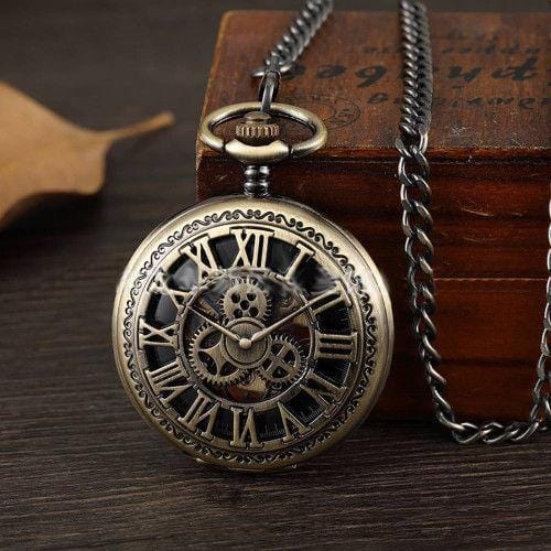 Pendant Watch Gear Roman Letter Hollow Pocket Watch Bronze