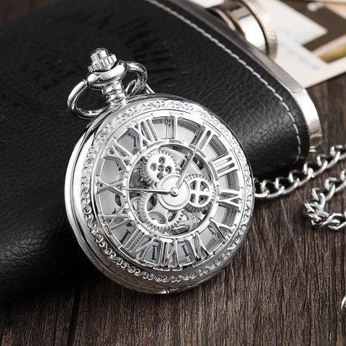 Pendant Watch Gear Roman Letter Hollow Pocket Watch Silver