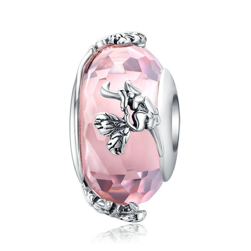 Pandora Compatible 925 sterling silver Butterfly Pink Handmade Glass Charm From CharmSA Image 1