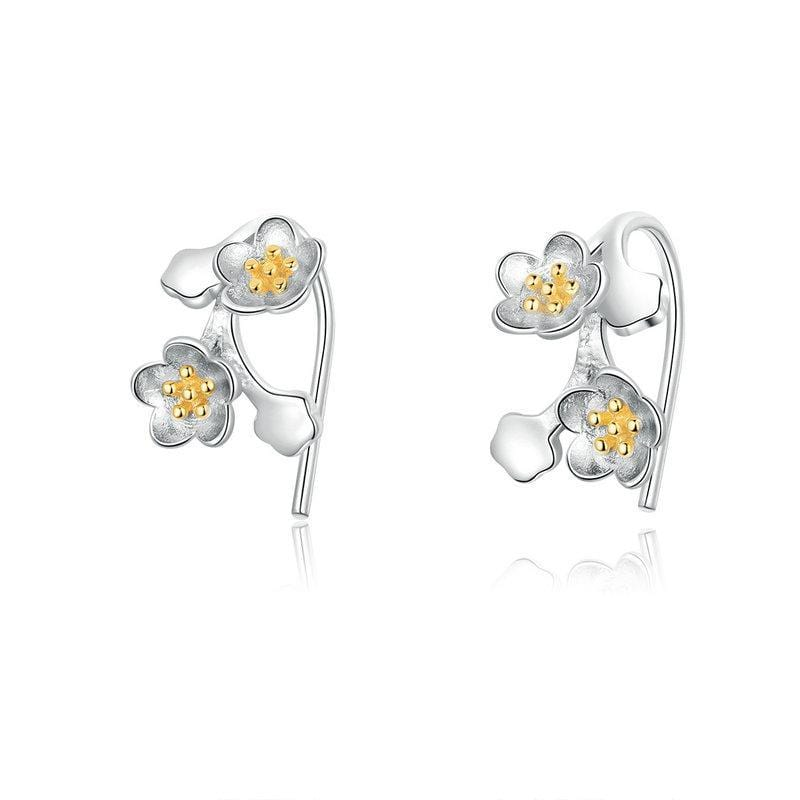 Sakura Floral Branch Tiny Earrings From CharmSA Image 1