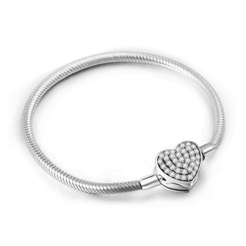 Pave Heart Clasp Bracelet (Size 16cm to 23cm) From CharmSA Image 1